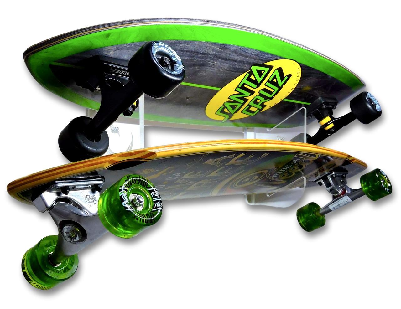 Clear Acrylic Skateboard Wall Rack   Holds 2 Skateboards