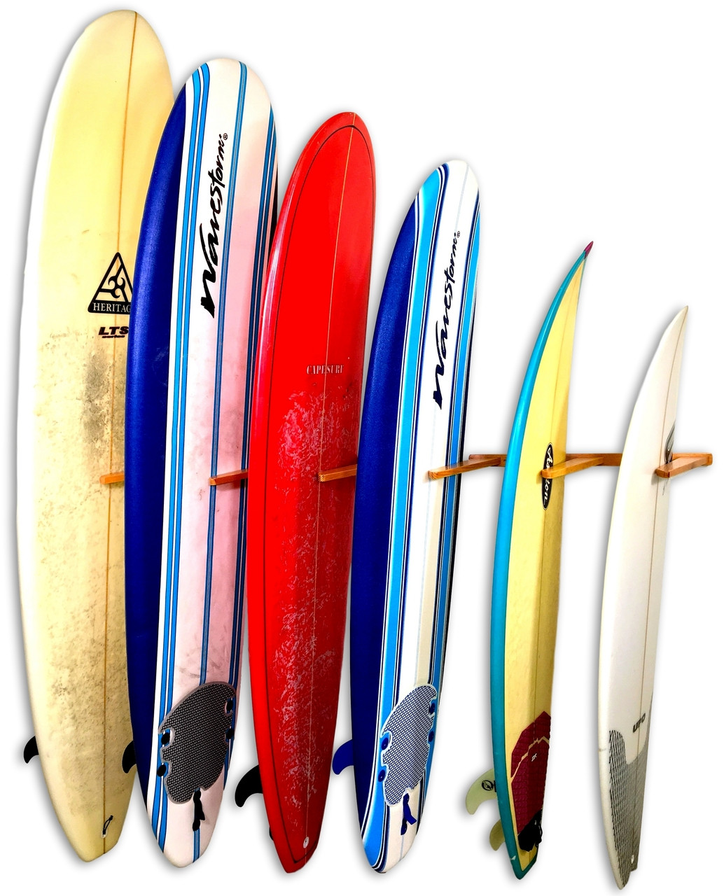 Vertical Surfboard  Wall Rack | Solid Oak Wood | 6 Surfboard Storage