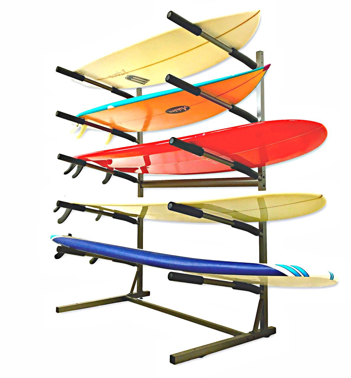 Freestanding Surf Rack | Holds 5 Surfboards