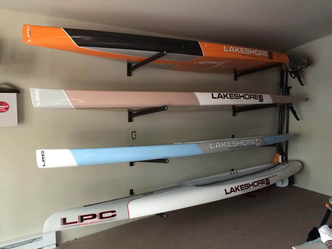 touring and race SUP wall rack
