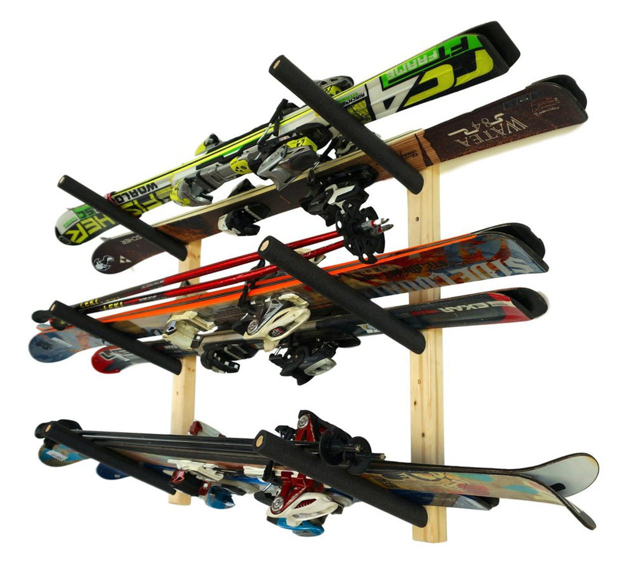 wood triple ski rack