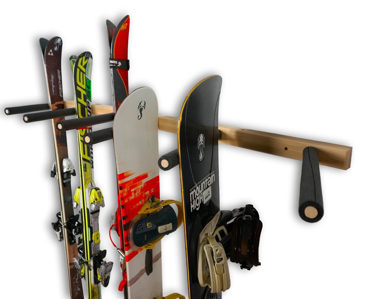 wood ski and snowboard garage storage