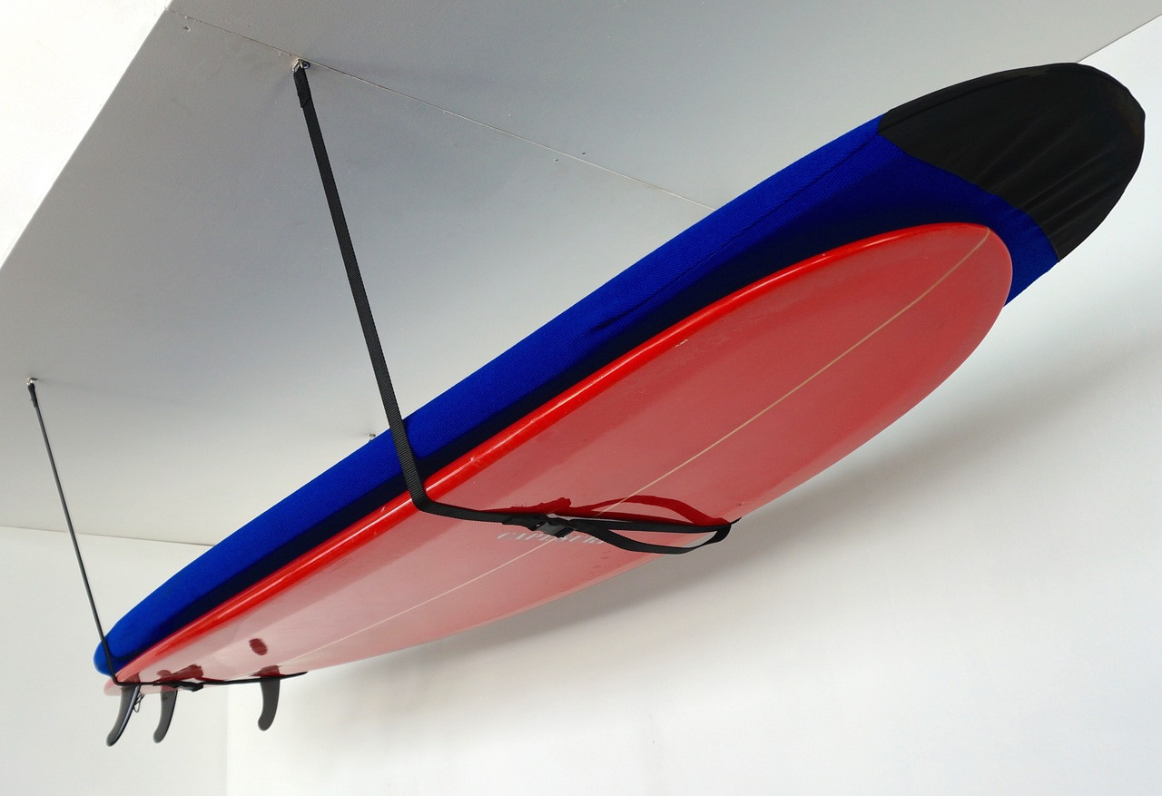 home garage storage mount for surfboards on ceiling