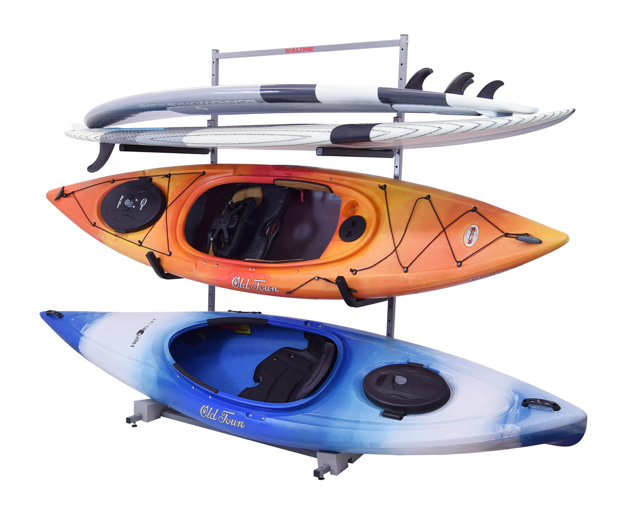 freestanding storage rack for 2 kayaks and 2 SUPs