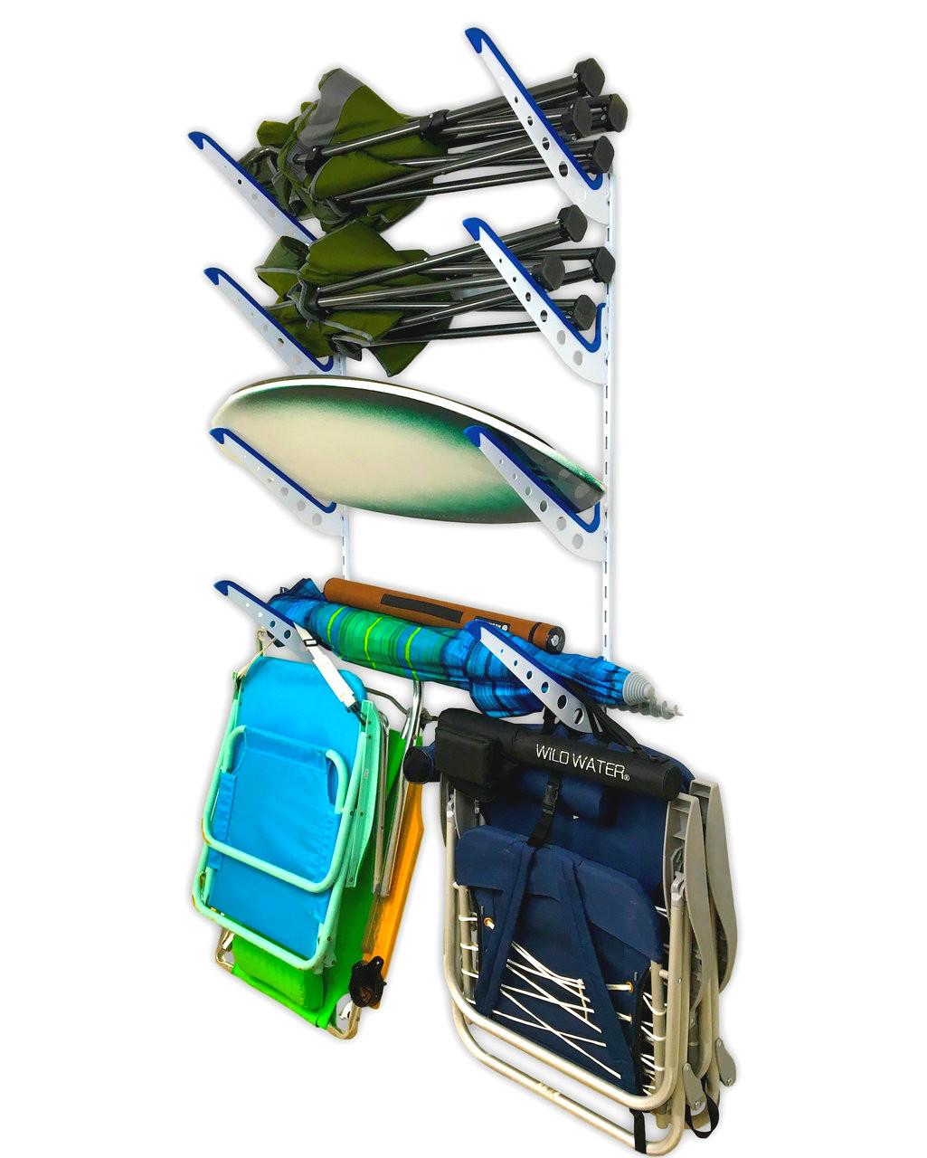Beach Gear Wall Rack | Beach Chairs and Umbrellas Storage