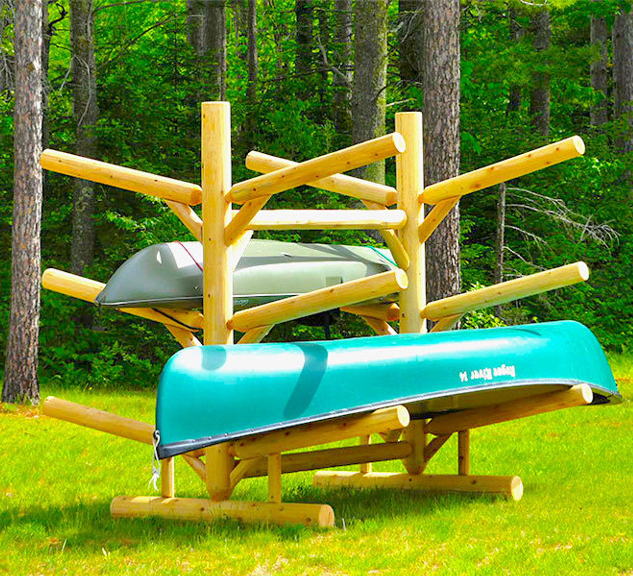 log kayak rack for six kayaks