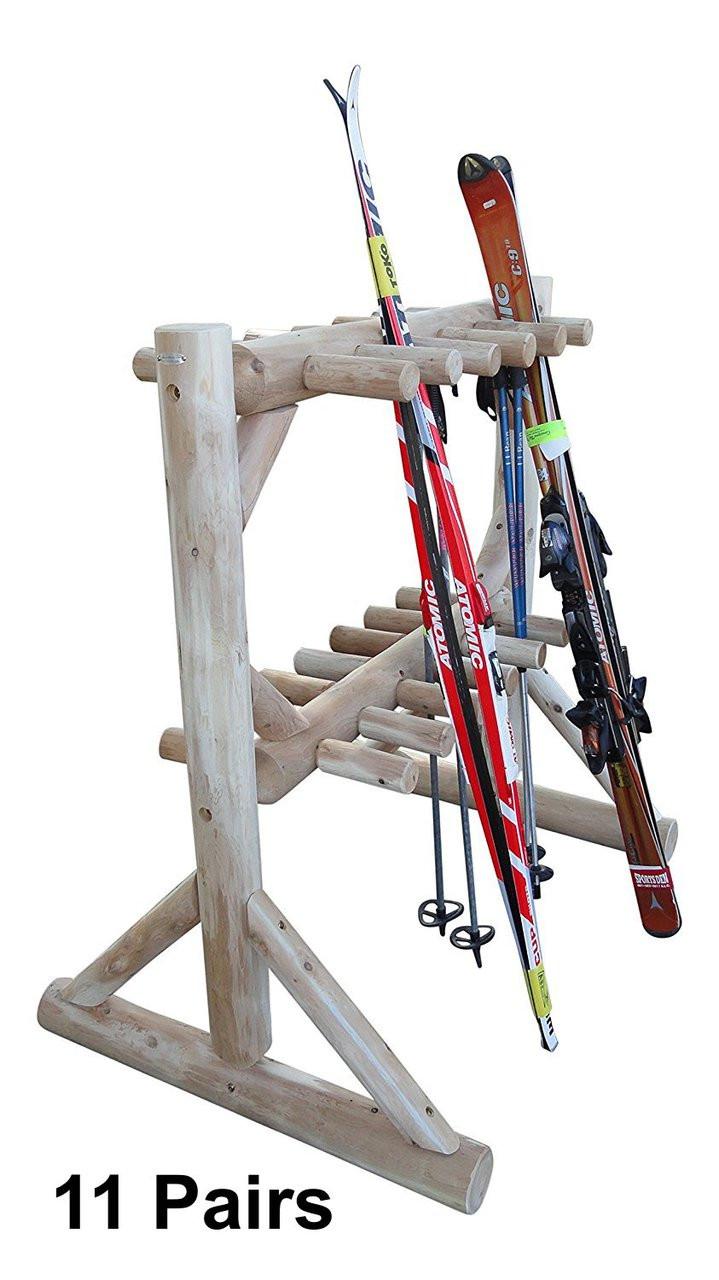 Ski And Snowboard Outdoor Wood Log Rack 11 Or 17 Pairs