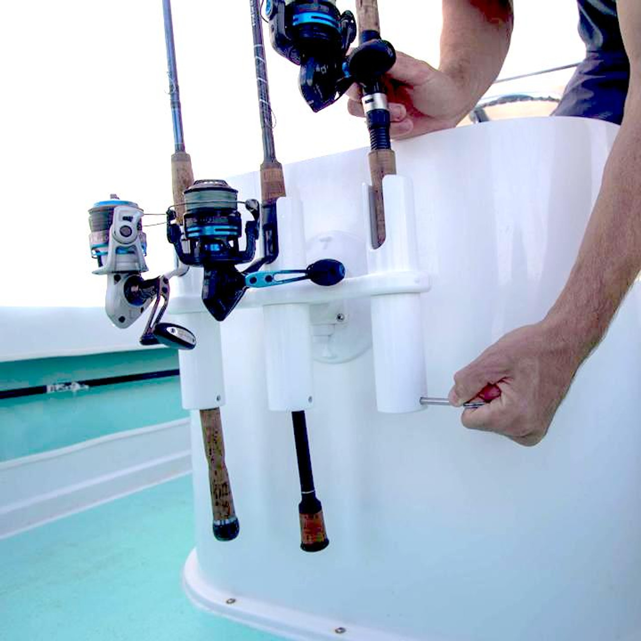 suction mount 3 rod holder for boat