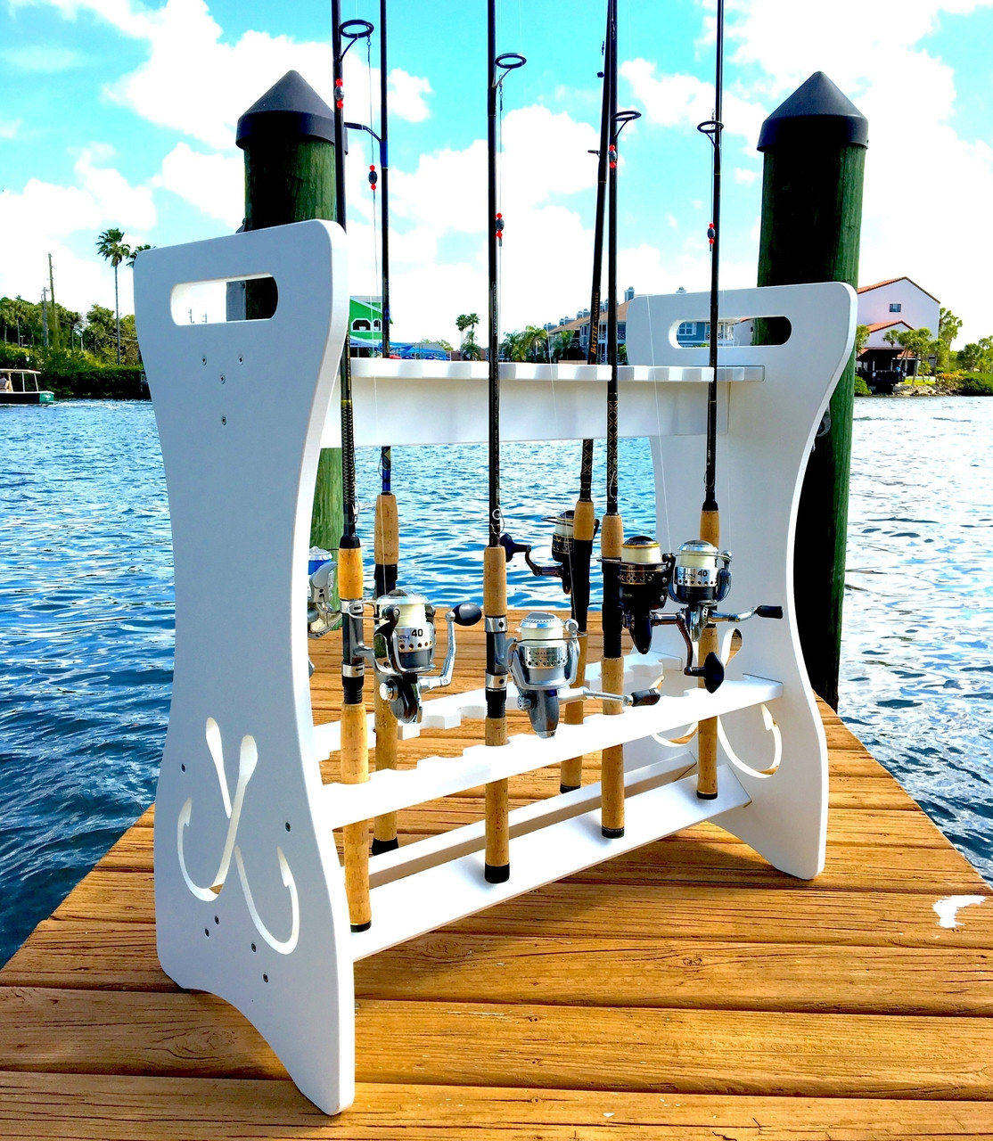 best outdoor dock fishing rod storage stand