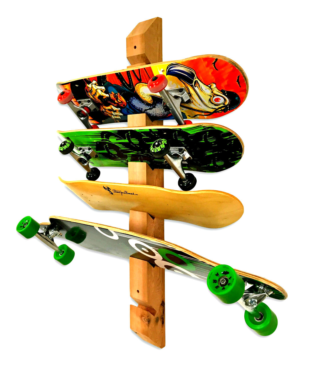 Handcrafted Cedar Wall Rack | 6 Skateboards