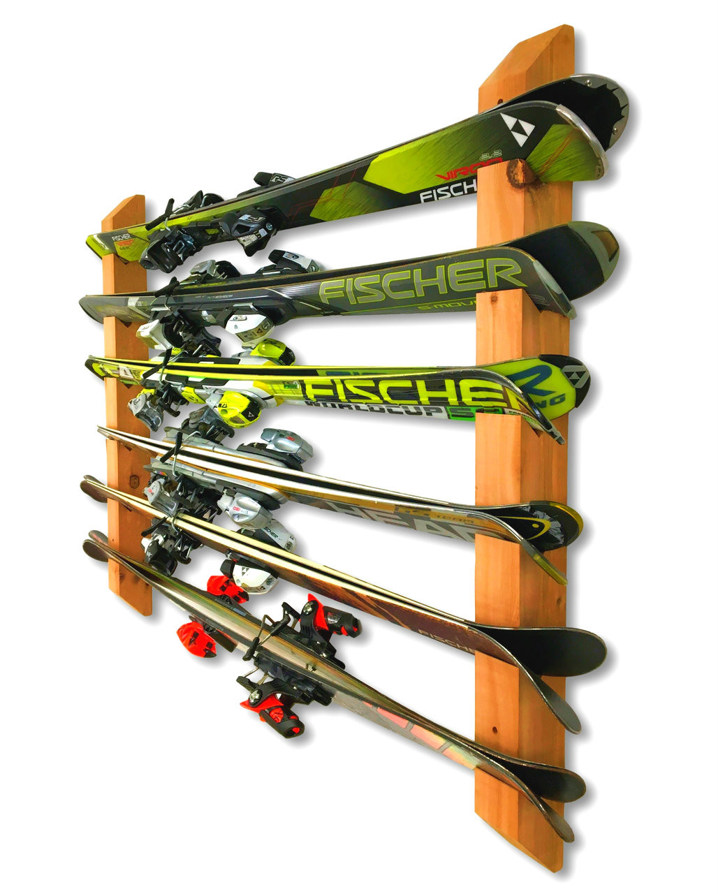 Handcrafted Horizontal Cedar Wall Rack | Holds up to 6 Pairs of Skis