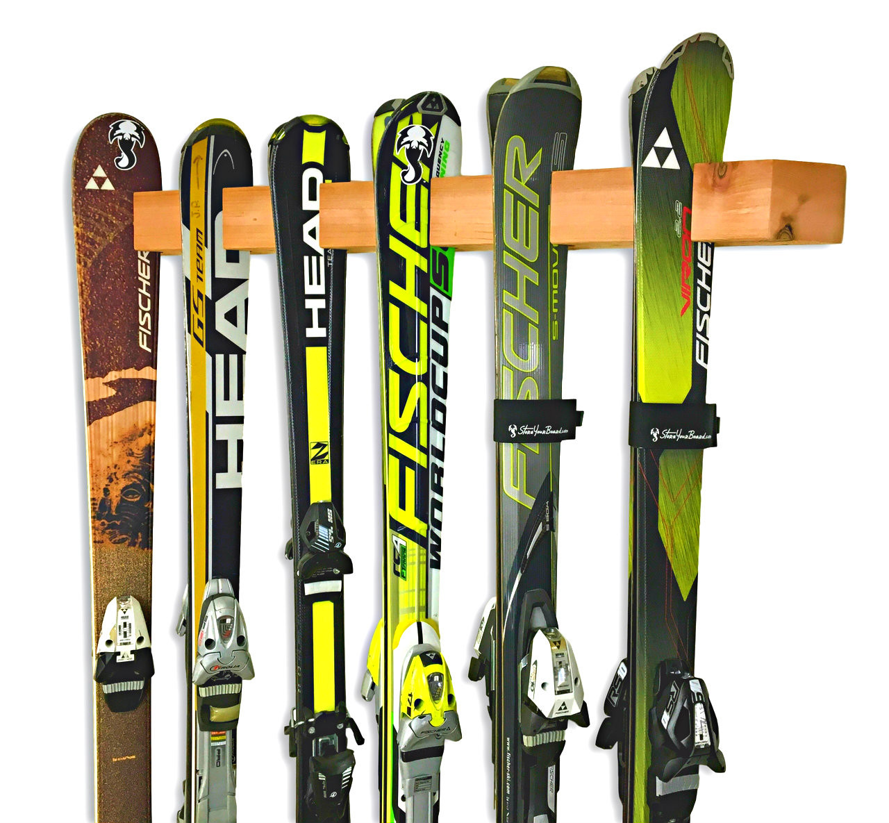 Handcrafted Vertical Cedar Wall Rack | Holds up to 6 Pairs of Skis