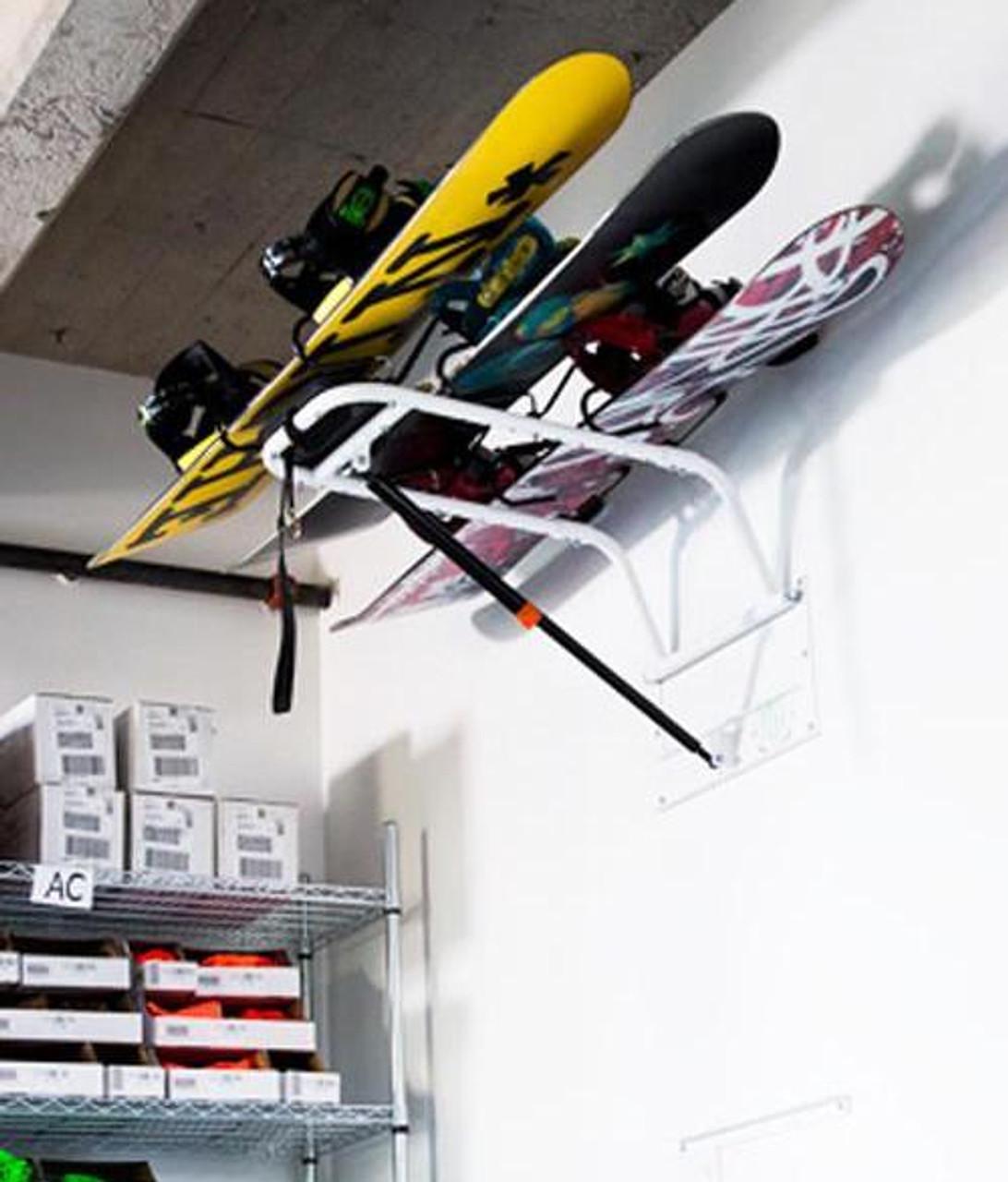 snowboard overhead hydraulic storage lift