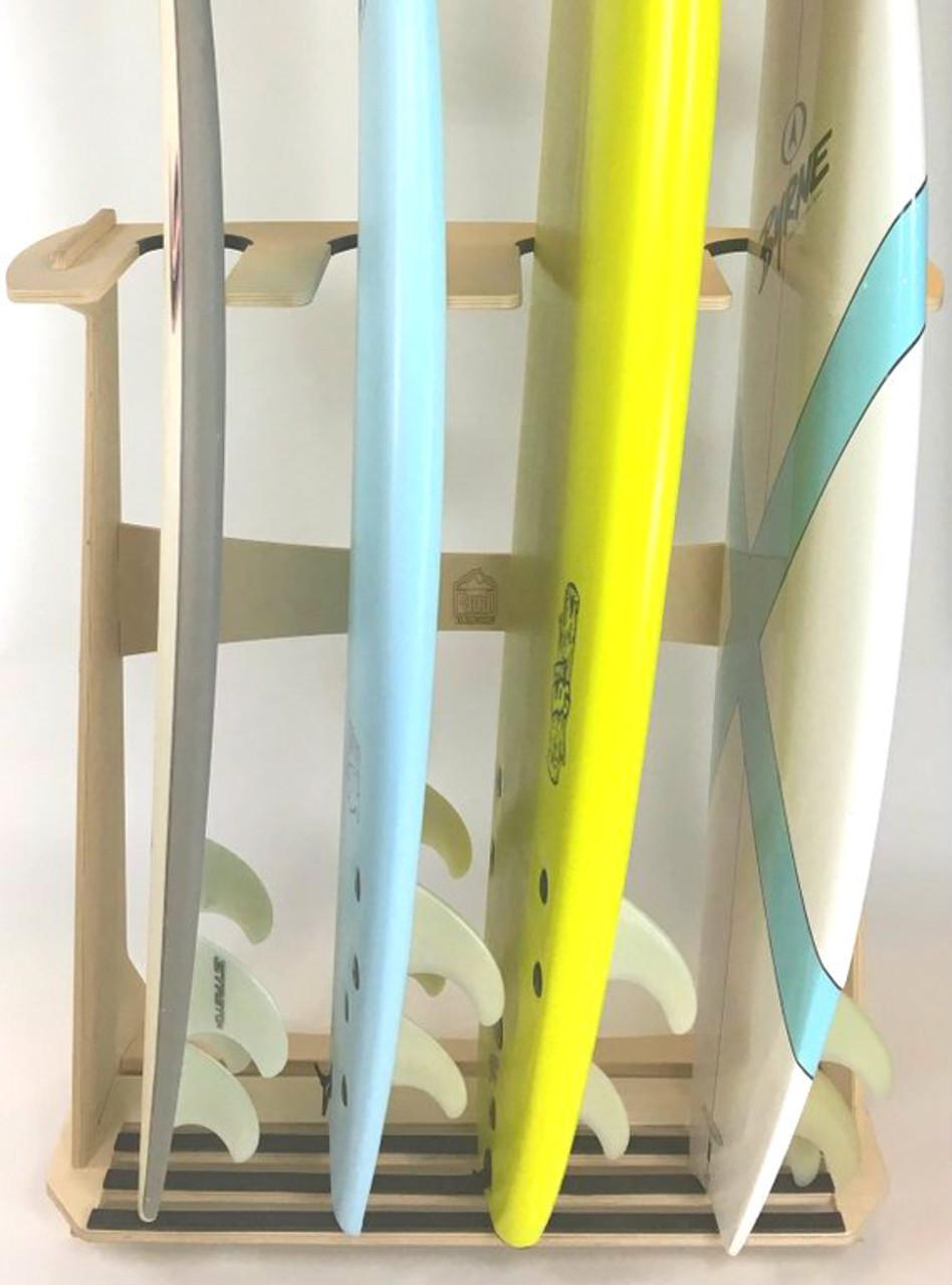 freestanding floor rack for 4 surfboards