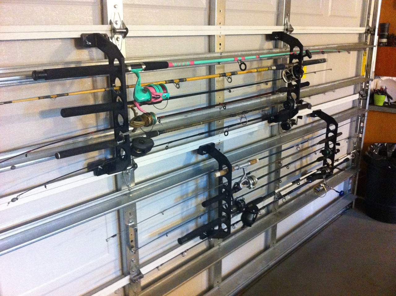 fishing rod rack for garage door
