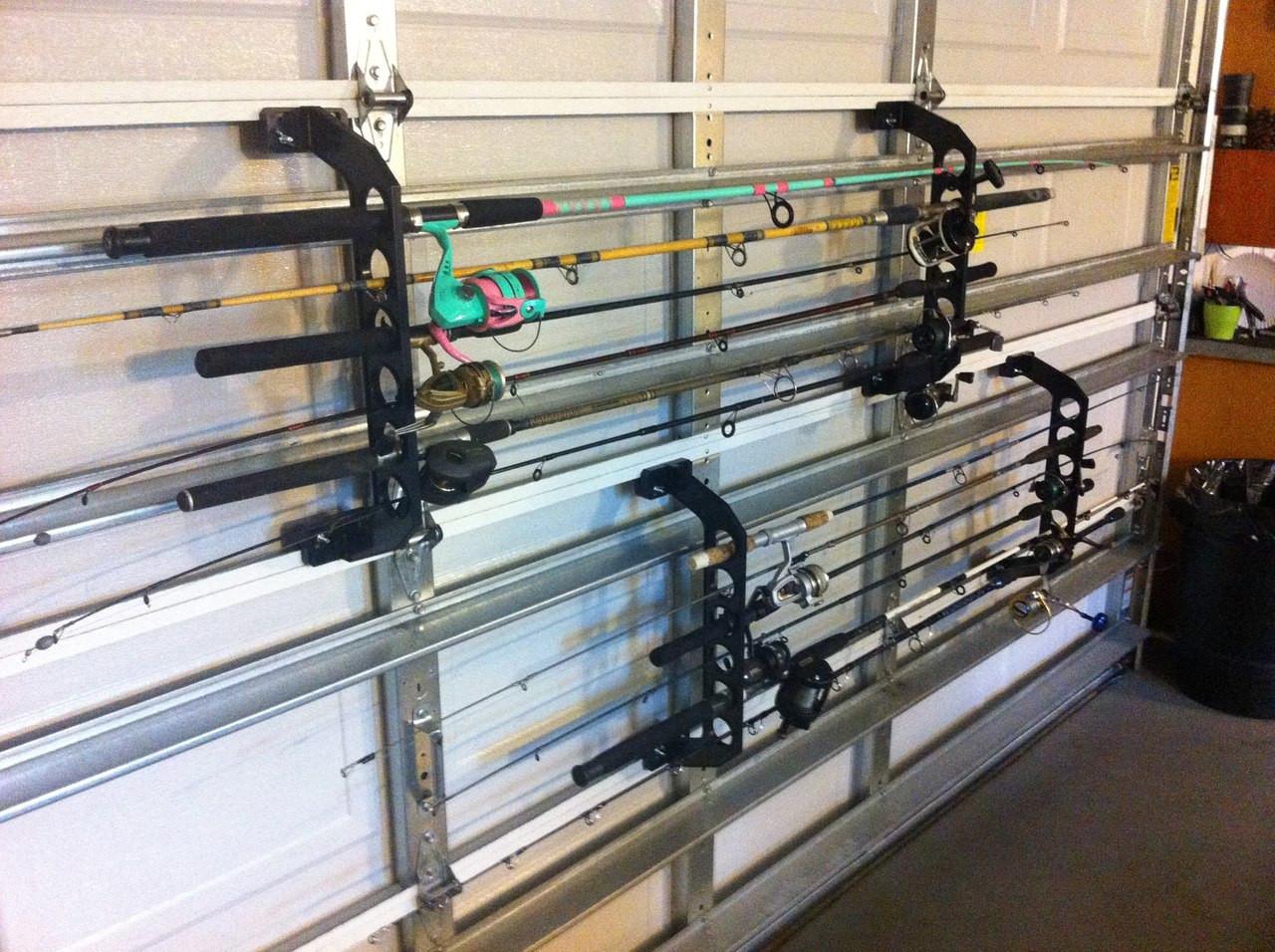 fishing rod rack for garage door