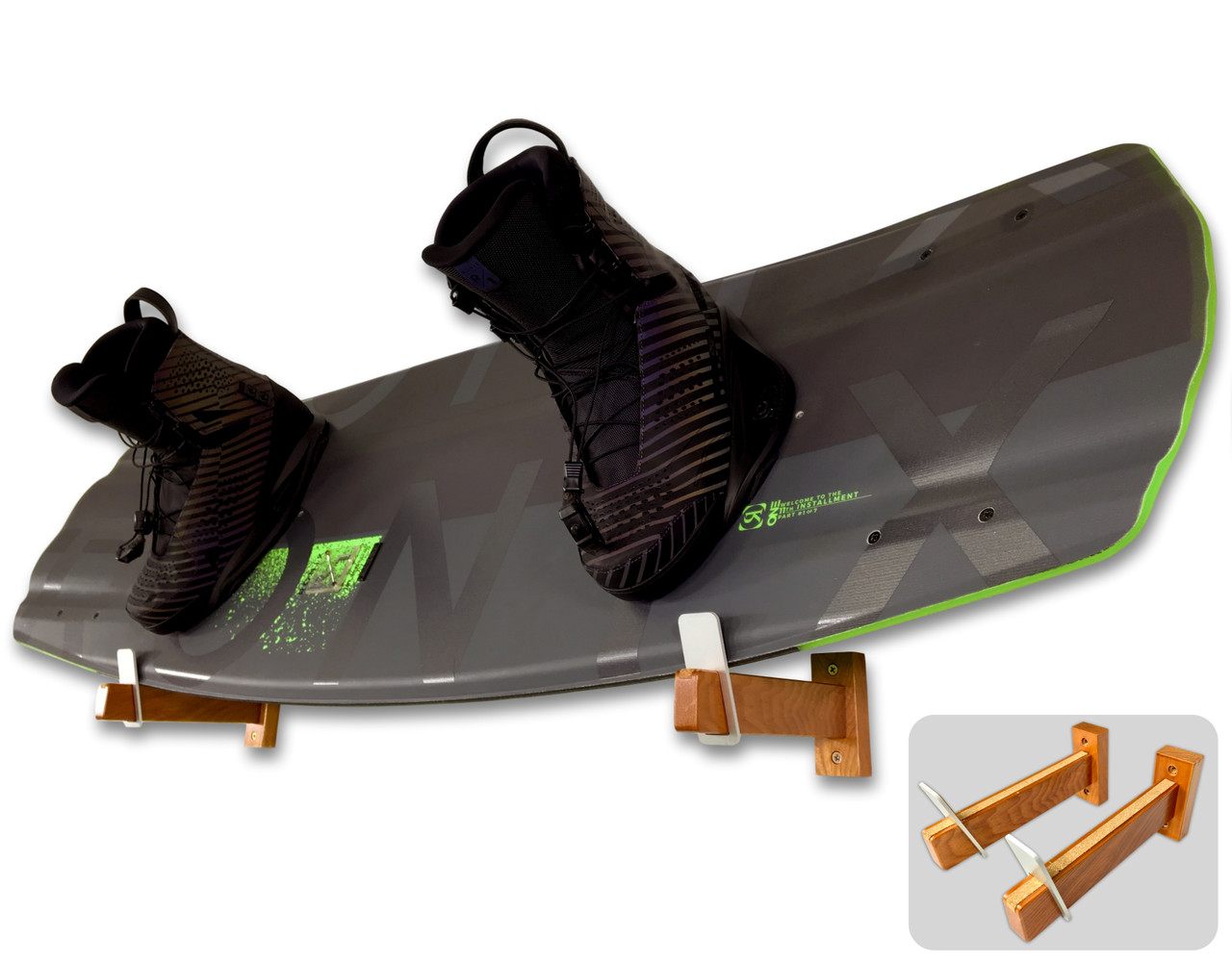 spire naked timber wakeboard wall rack mount display