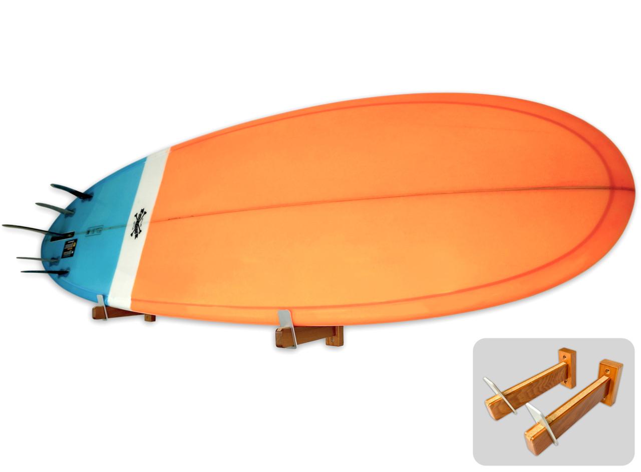 floating wooden surfboard wall mount display