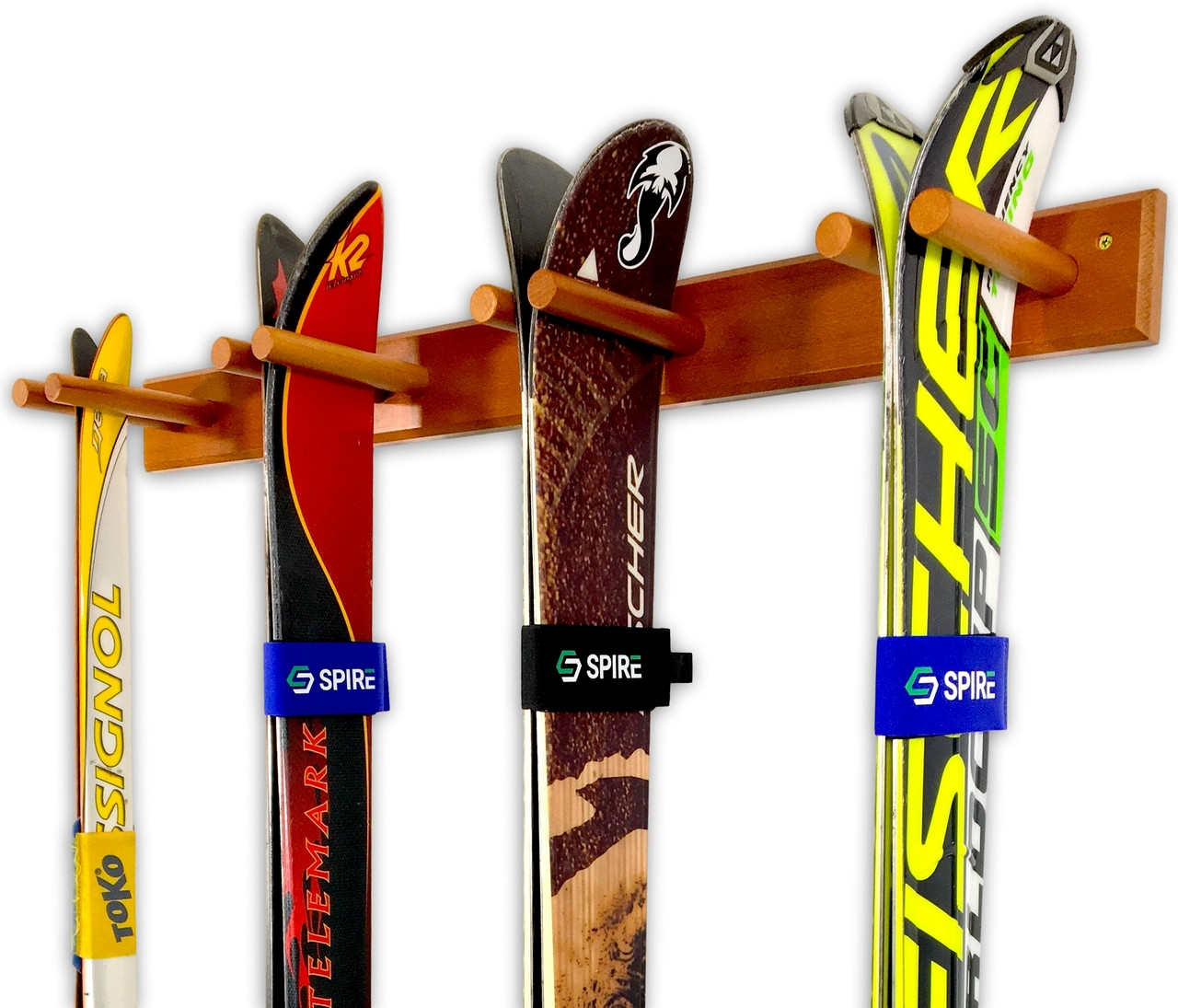wooden ski wall storage