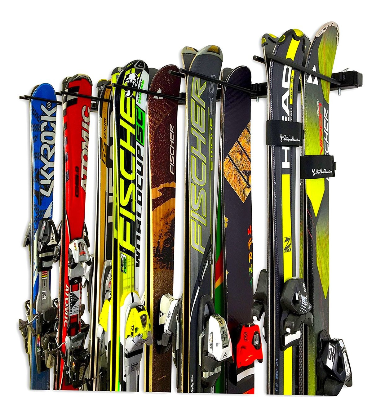 indoor wall storage for 10 pairs of skis
