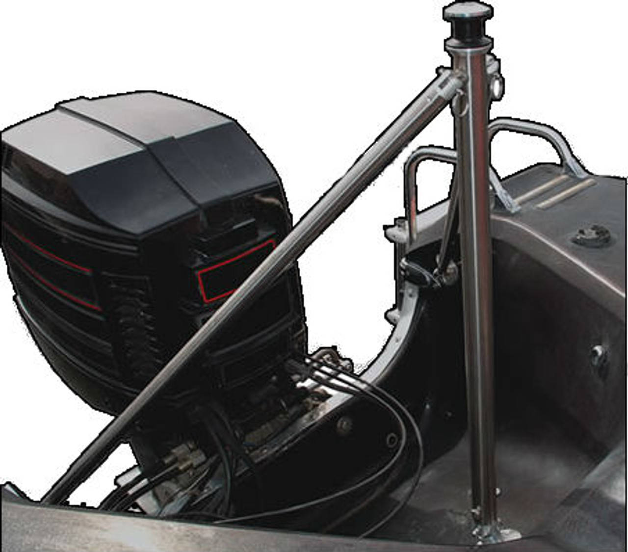 Hinged ski pole for boats with outboard motors
