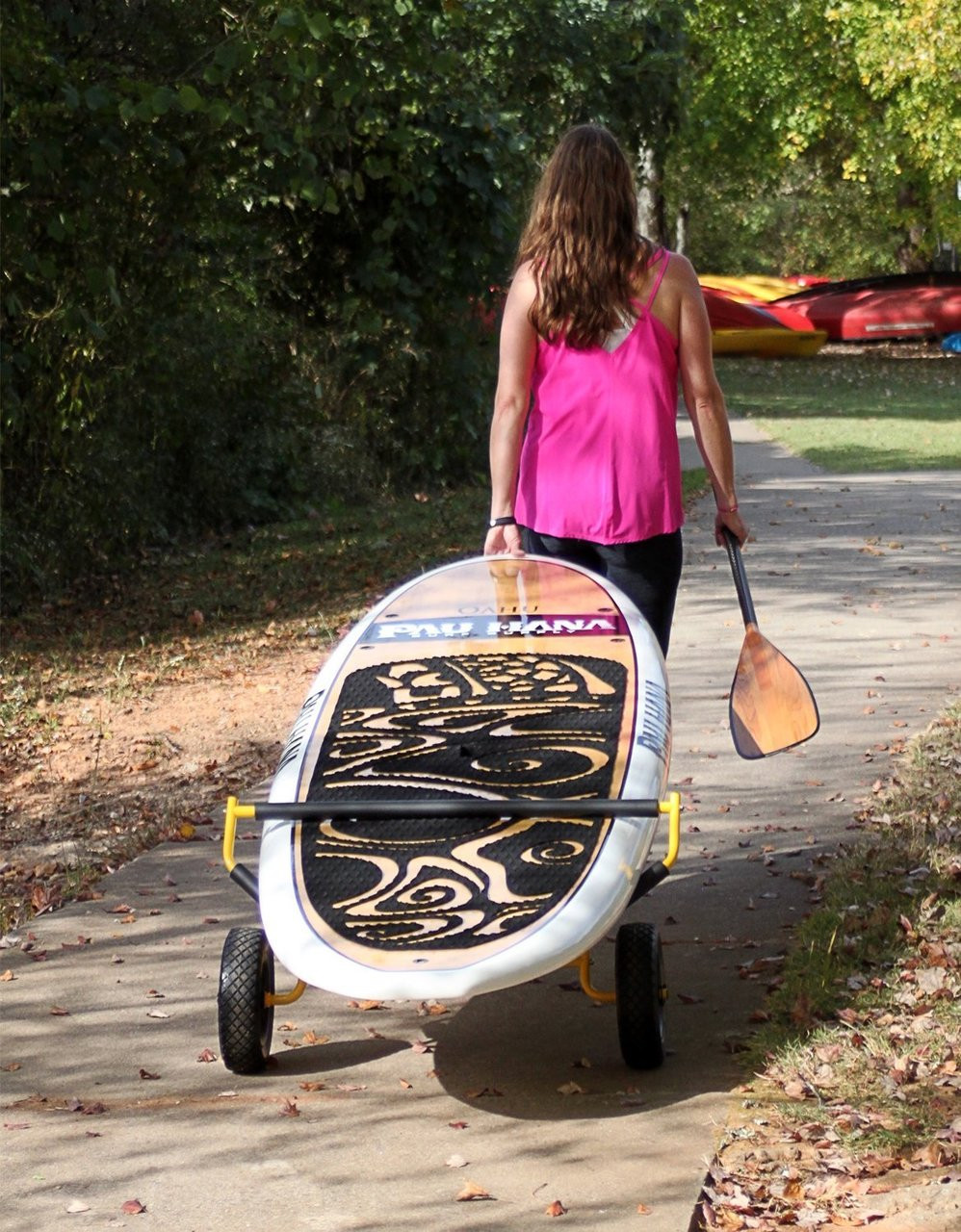 pull behing paddleboard dolly cart