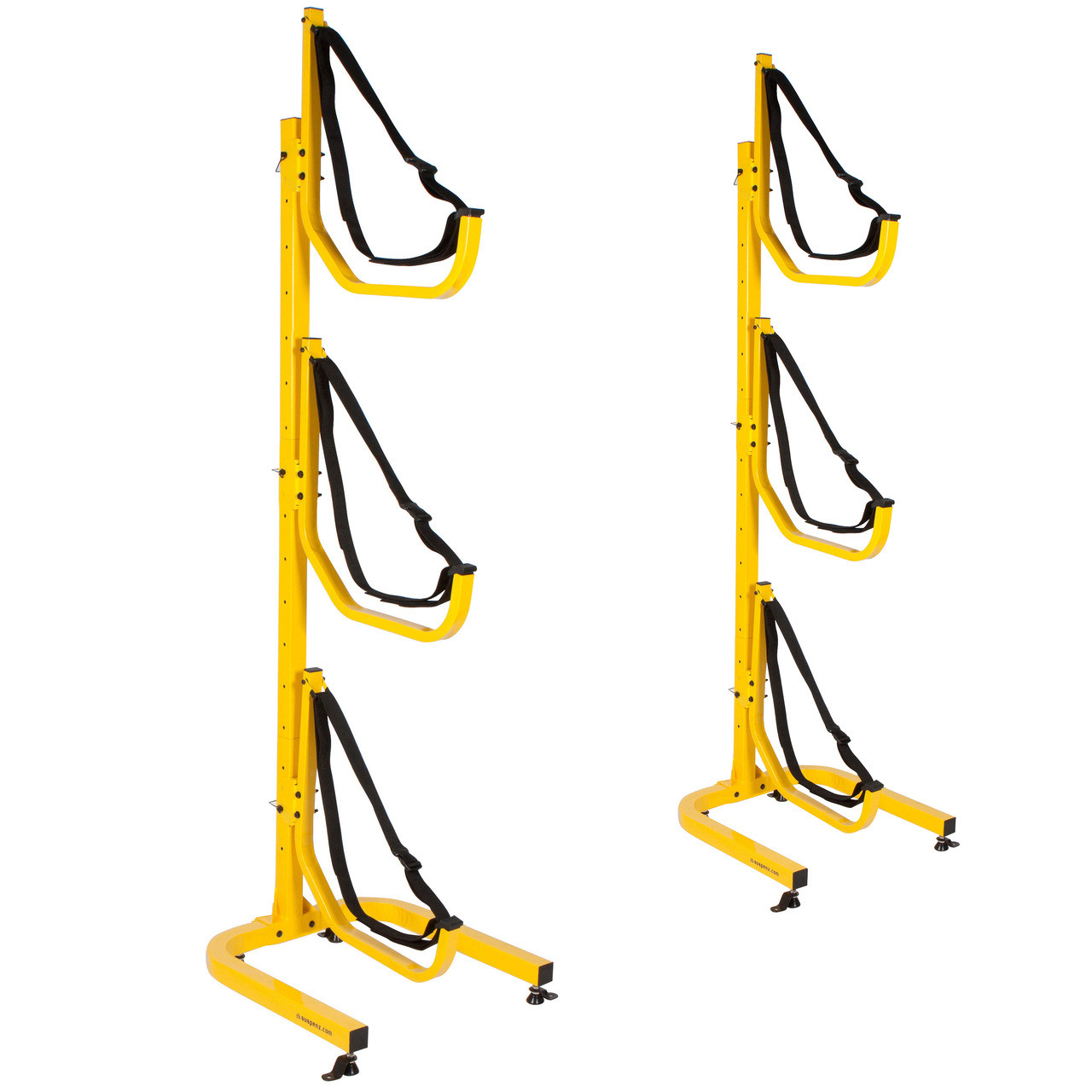 suspenz jay freestanding rack holding three kayaks