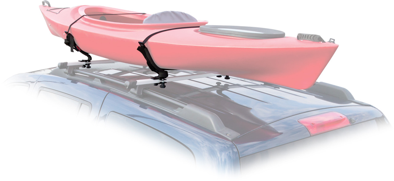 padded, v-shaped roof carrier for kayaks and canoes