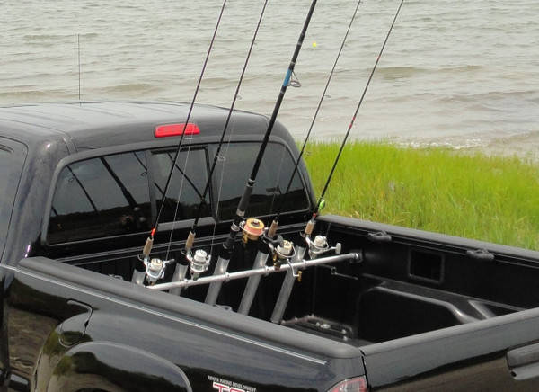 inshore truck bed fishing rod rack pressure mount holds up to 5 rods