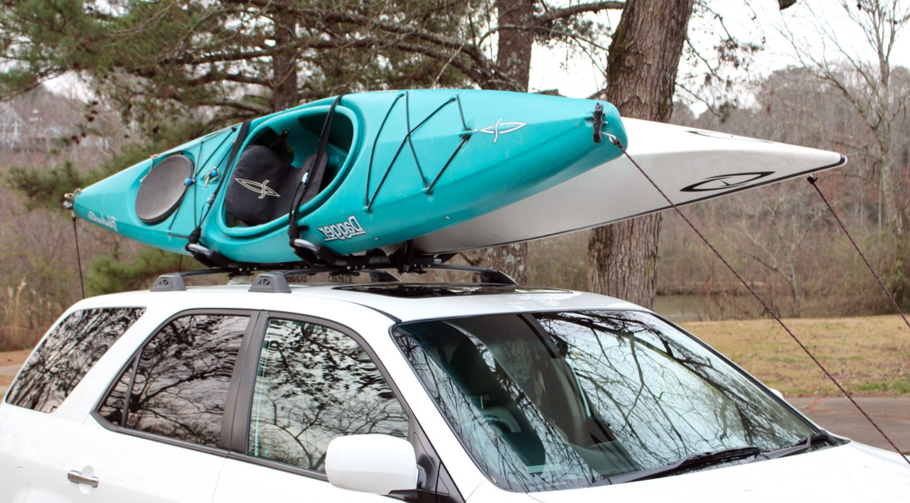 Kayak Roof Rack For Cars >> 2 Kayak Car Roof Rack Folds Flat Storeyourboard Com