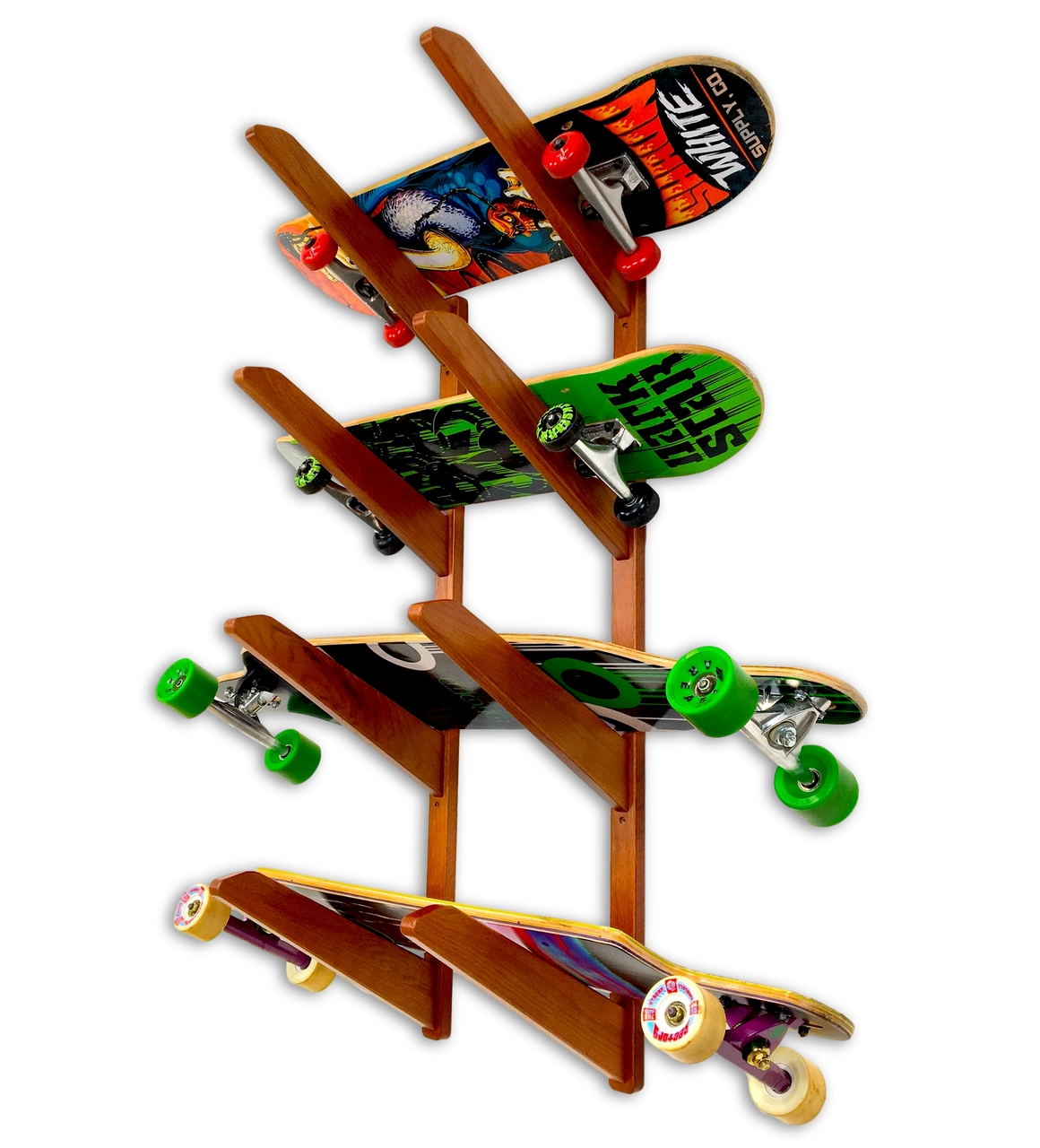124d453e Timber Skateboard Wall Rack | Solid Oak | Holds up to 4 Skateboards ...