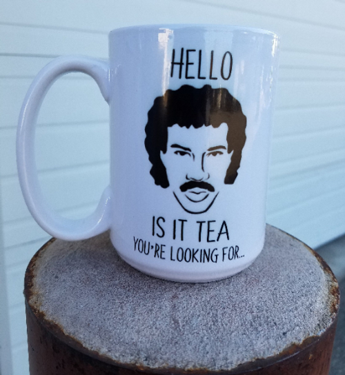 Do you have a love for the 80's? Lionel Richie? Coffee or Tea? Then this is the mug for you! A quippy play on a Lionel classic, this mug will provide not only a home for all your hot beverages, but also a laugh!!  This coffee mug is the perfect addition to any kitchen, coffee bar or man cave. It makes a great gift too!!  Ceramic mug holds 15oz of your beverage of choice.  Hand washing is recommended.