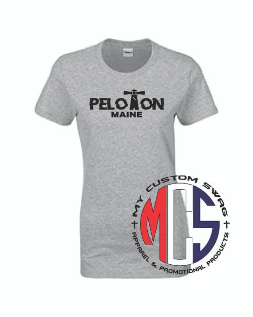 Maine Peloton Women's Silver moisture Wicking T-Shirt