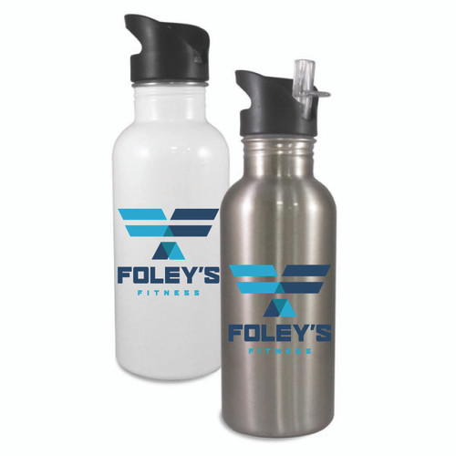 These stylish stainless steel water bottles come with a flip top straw for easy sipping. A straw insert keeps your favorite cold beverage flowing. Available in white or silver.  These bottles hold 20oz and are BPA free.  Handwashing is recommended.