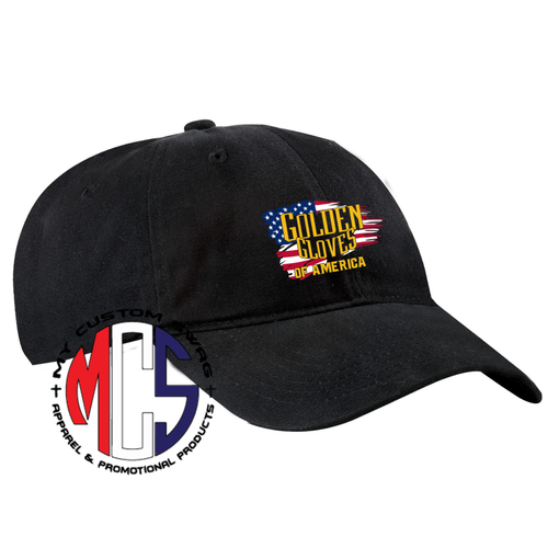Golden Gloves Adjustable Hat with Embroidered Flag Logo- 4 Colors