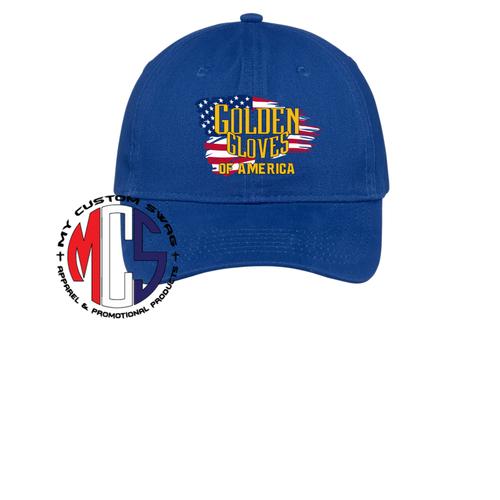 Golden Gloves Adjustable Hat with Embroidered Flag Logo- 4 Colors