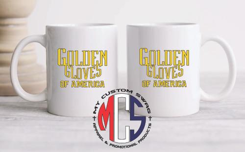 11oz Ceramic Coffee Mug- Golden Gloves logo