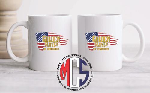 11oz Ceramic Coffee Mug- Golden Gloves logo with flag