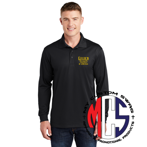 Long Sleeve Polo with Embroidered Golden Gloves Logo
