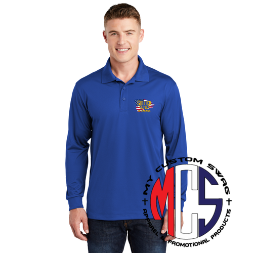 Long Sleeve Polo with Embroidered Golden Gloves Logo with Flag
