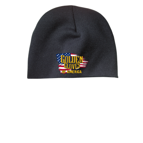 Golden Gloves Beanie Embroidered with Flag- 3 color choices