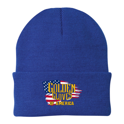 Golden Gloves Cuffed Beanie Embroidered with Flag- 3 Color Choices
