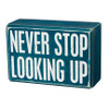 Never Stop Looking Up - Box Sign & Socks Gift Set