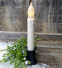 Winter White LED Battery Taper Candle with Clear Glitter
