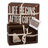Life Begins After Coffee - Box Sign & Socks Gift Set