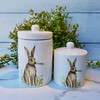 Set of Two Ceramic Springtime Bunny Canisters