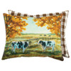 Autumn Cows and Brown Buffalo Check Accent Pillow