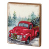 Farmhouse Christmas Vintage Red Truck with Wreath Box Sign