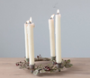 Round Metal Wreath Taper Holder with Leaves and Berries - A