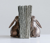 Pair of Springtime Bunny Bookends with Bronze Finish - G